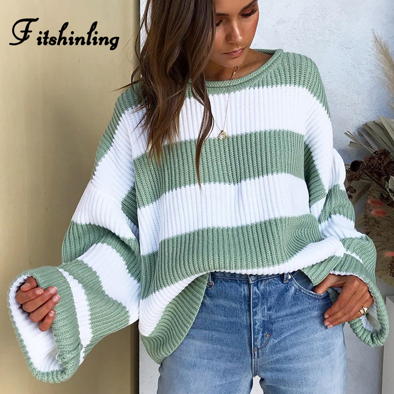Fitshinling Listrada Solto Pullover Camisola Das Senhoras 2019 Outono Inverno Nova Chegada Verde Jumpers Malha Camisolas Das Mulheres Puxar Femme