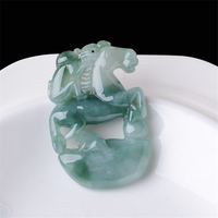 2019 new Natural old pit ice species floating flower emerald horse pendant Myanmar A goods jade horse pendant