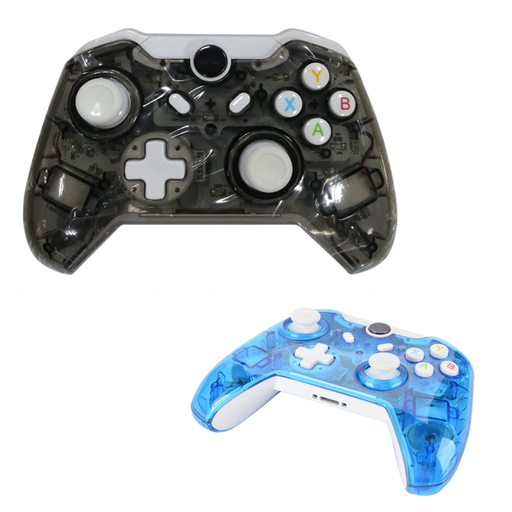 2pcs Transparent Black/Transparent Blue Wireless gamepad game controller For Xbox one xbox one controller led mod leds blue