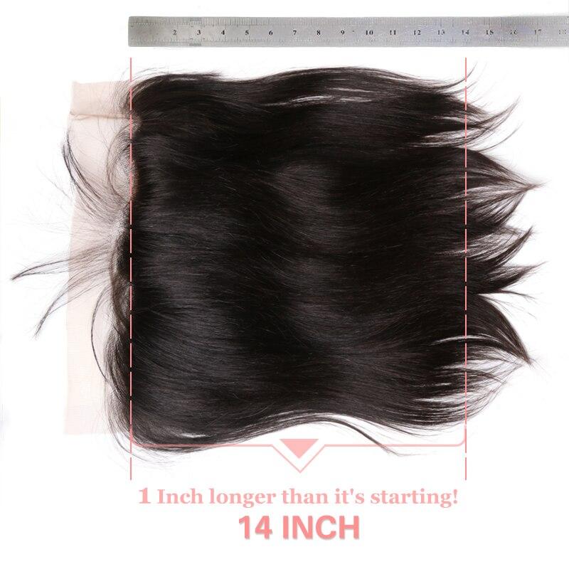 Ali Queen Hair 13x6 Lace Frontal Closure Brasilian Straight Virgin - Mänskligt hår (svart) - Foto 6