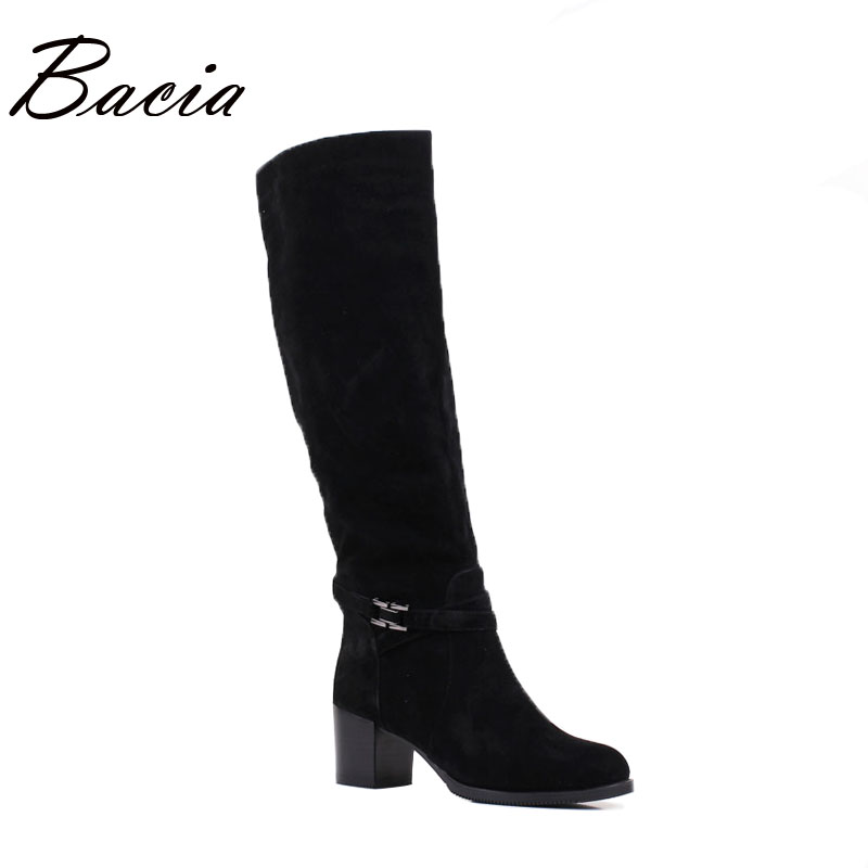 Bacia Winter boots For Women Genuine Leather Sheep Suede Boots Wool Fur & Short Plush Rubb