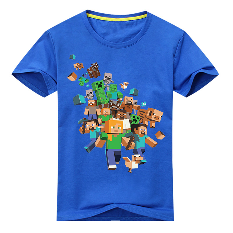 Mine Craft t shirt Short Sleeve Boys Girls Summer pure cotton T shirts Our world Cartoon t-shirts kids children clothes 9 colors why our kids don t study page 1