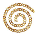 AliLujah Iced Out Gold Chain Rhinestone Men Necklace Fashion Brand Jewelry Gold Plated Rap Rock DJ Link Chains 75CM SN033