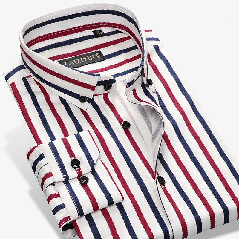 2017 New Fashion Designer Contrast Multi Striped Casual Men Shirts Slim Fit Comfort Soft Button down Design Cotton Shirt M497
