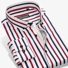 2017 New Fashion Designer Contrast Multi-Striped Casual Men Shirts Slim Fit Comf