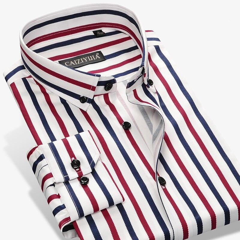 2017 New Fashion Designer Contrast Multi Striped Casual Men Shirts Slim Fit Comfort Soft Button down Design Cotton Shirt M497