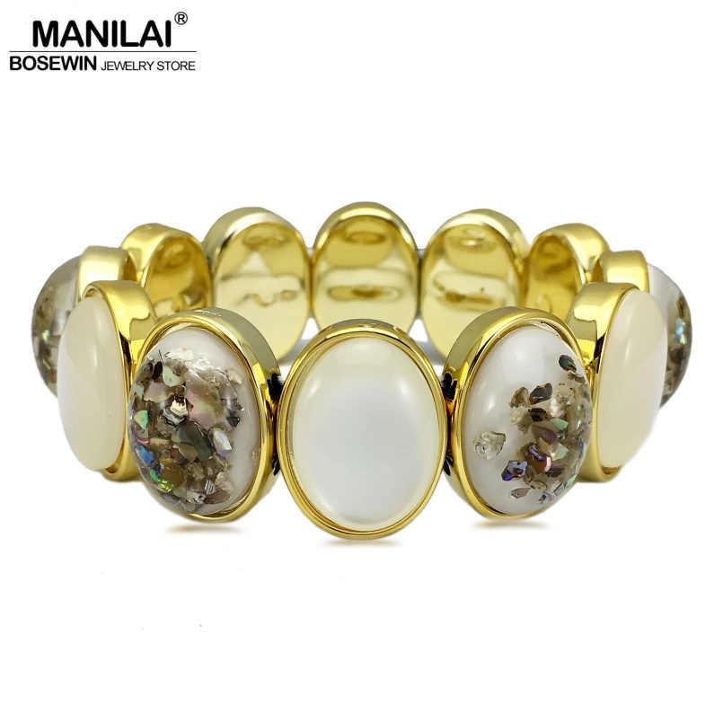 MANILAI estilo Étnico Elegante Resina Elastic Strand Pulseiras Para Mulheres Moda Jóias de Ouro Base de Acrílico Charm Bracelet Bangle