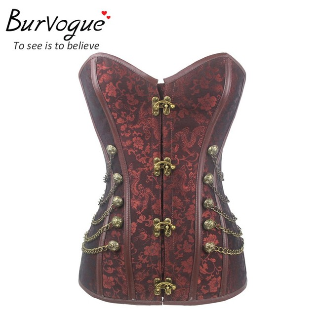 3d96d31aa1b Burvogue Plus Size Steampunk Waist Control Corset Steel Bone Corset Top  Overbust Bustier With Chain Gothic