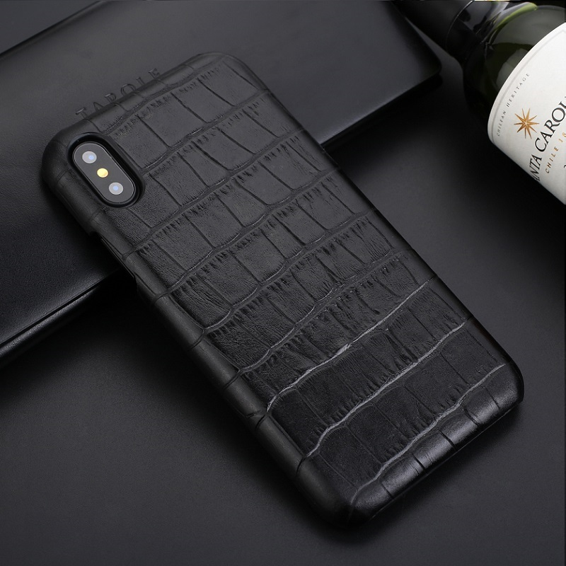 Solque Real Leather Case For iPhone X XS MAX XR 7 8 Plus 6 6S Genuine Leather Mobile Phone Case Luxury Crocodile Thin Slim Cover iPhone