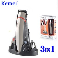 Promo KEMEI 3 en 1 profesional de alta precisión de cabello pelo de la nariz de afeitar la barba Trimmer máquina de cortar o cabelo KM-530A