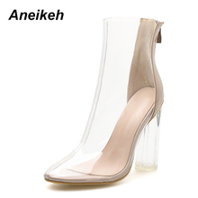 Round-Head Crystal-Boots Chelsea Chunky High-Heel Women Aneikeh Spring/autumn Sewing
