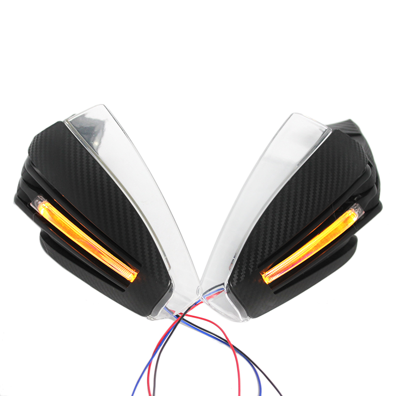 New 1 Pair 7/8 Right and Left Universal Motorcycle Hand Guard Reinforced Protector With LED Turn Signal Light Universal mzorange new 1 pair left