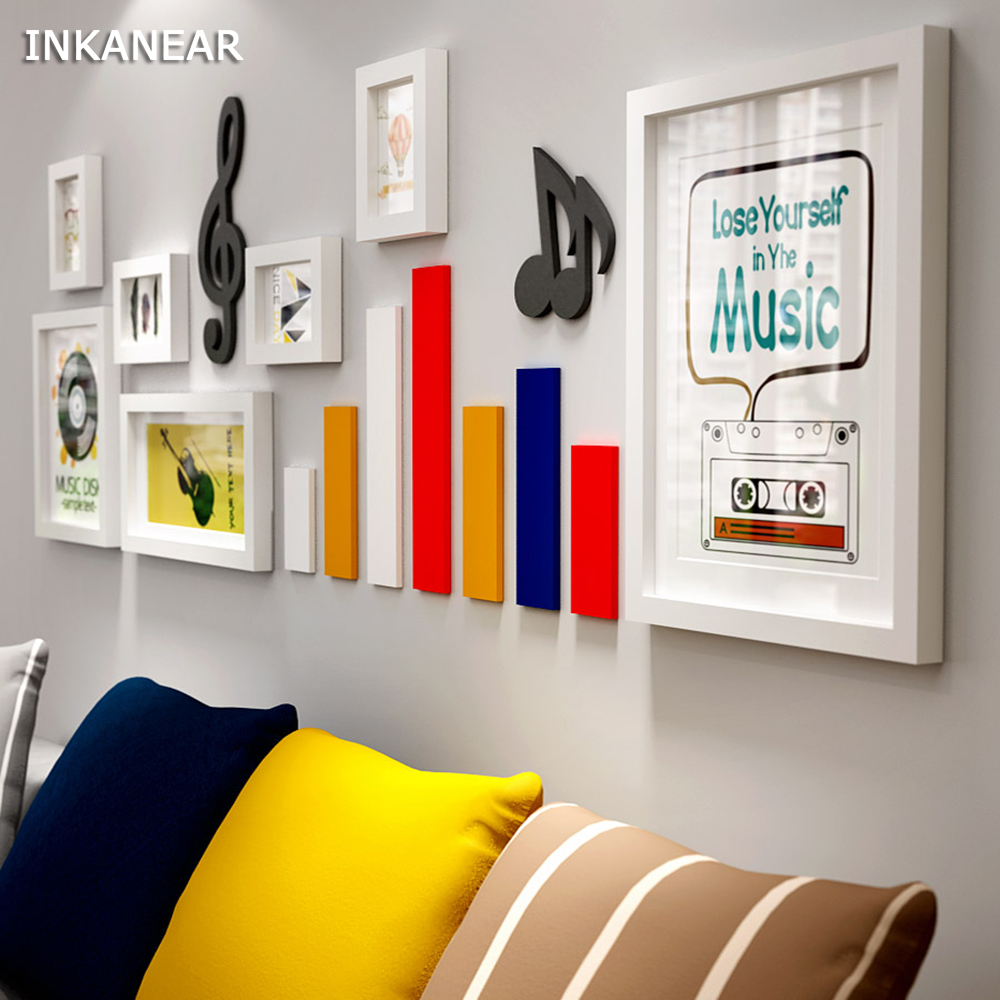 Multi frame Modern Living Room Solid Wood Picture Frames Music Note Painting Photo Frame Set Store