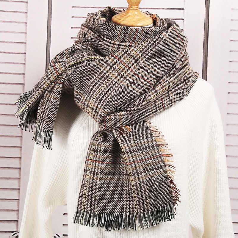 38c69b75b Nueva bufanda de primavera e Invierno para mujer, bufandas de Cachemira a  cuadros, bufandas