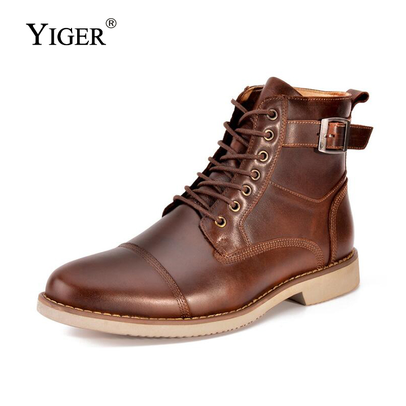 YIGER New Men Martins Boots Genuine Leather Men Motorcycle boots Lace up Male Ankle boots High