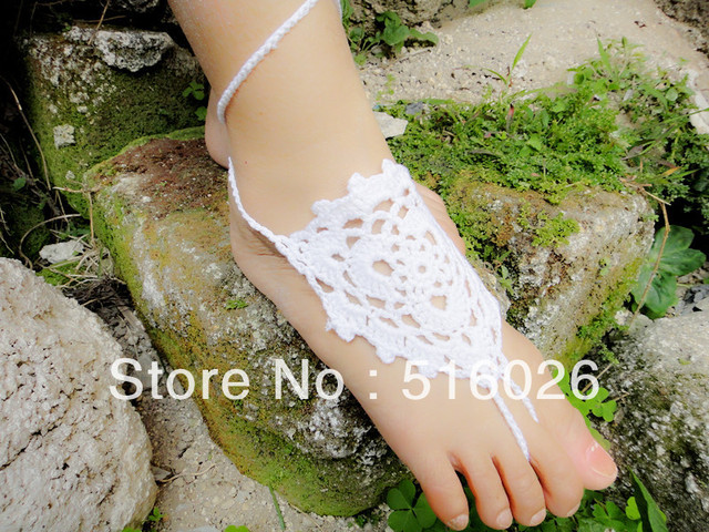Crochet Barefoot Sandals, Nude shoes, wedding, Foot jewelry, Bridal, Lace, Sexy, Yoga, Anklet,beach, summer, 5pair/lot