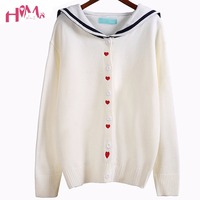 Womens Fashion Wool Knitted Cute Sweater Soft Sister Sailor Collar Loose Cardigan Korean Lovely Heart Sweaters