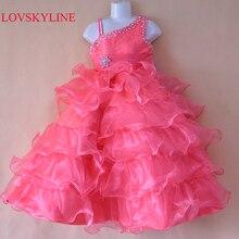 Г., стиль,, красивое платье трапециевидной формы с бисером на заказ, размер/цвет, платье с цветочным узором для девочек праздничное платье для девочек Sky991