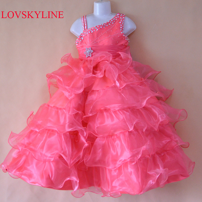 2018 New style wholesale beautiful A-line beaded custom size/color   flower     girl     dress     girls  ' party   dress     girls  ' gown Sky991