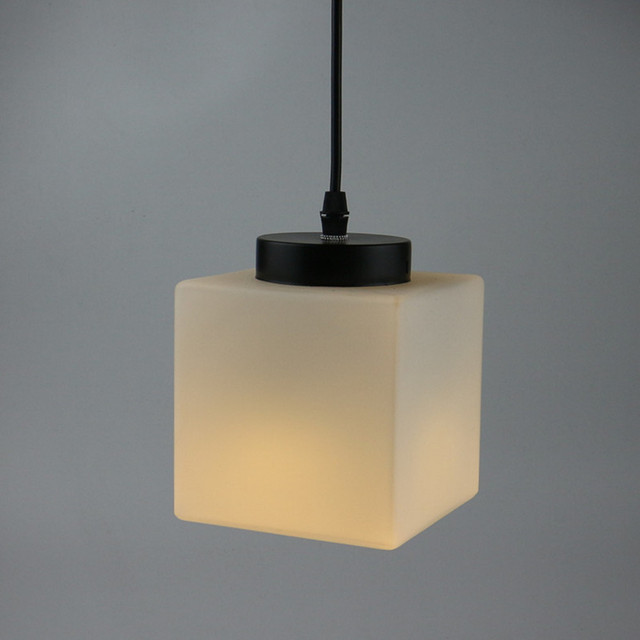 Classic Design LED Lamp Pendant Light Diameter 12cm White Square Plated Glass Hanging Fixture