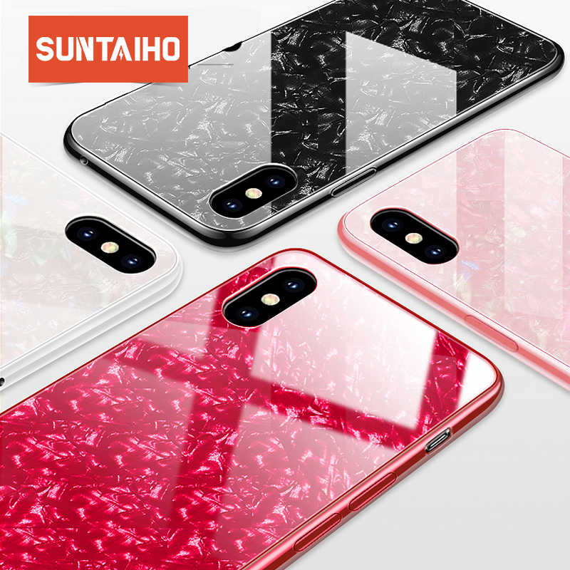 Suntaiho Telefoon Gevallen voor iPhone X 10 Gehard Glas Case Marmer Back Cover voor iPhone 8 7 6 Plus Case anti-klop Ingericht Case