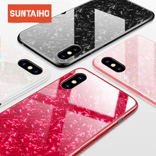 Suntaiho Phone Cases for iPhone X 10 Tempered Glass Case Marbel Back Cover for iPhone 8 7 6 Plus Case Anti-knock Fitted Case