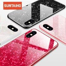 Suntaiho Telefoon Gevallen Voor Iphone X 10 Gehard Glas Case Marmer Back Cover Voor Iphone 8 7 6 Plus Case anti Klop Ingericht Case