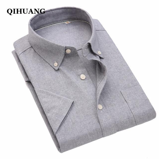 24e8e925 QIHUANG Men's Casual Business Short Sleeve Shirt Summer Oxford White Blue  Pink Gray Slim Fit Shirt For Men Social Shirts