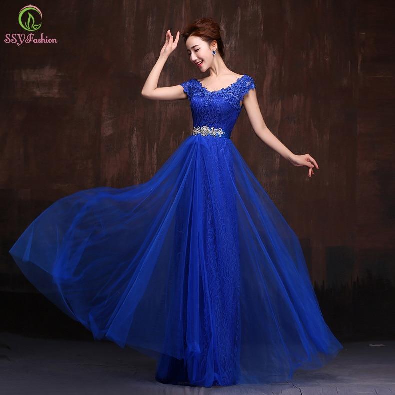 Blue Lace Evening Dress 2015 New Fashion Bridal Banquet Party Elegant Long Prom Dresses Plus ...