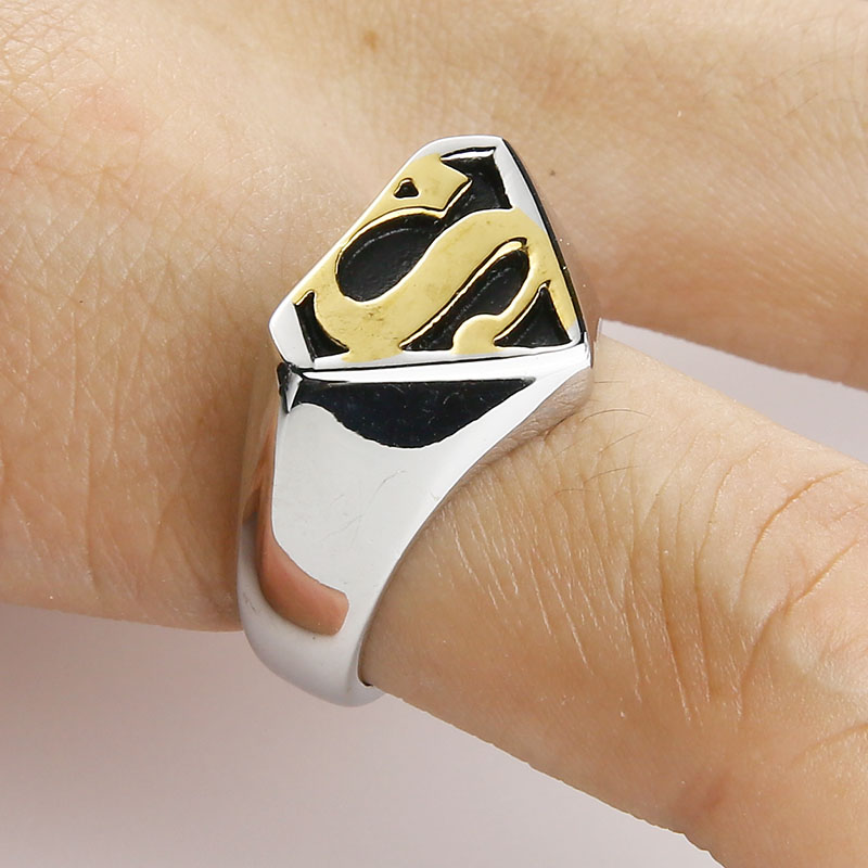 Valily Jewelry Man's Batman Ring Silver Motor Biker Superman Rings - Mode-sieraden - Foto 5