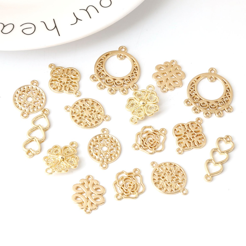 10pcs Gold Color Hollow Drop Water Heart Bow Flower Multi Hole Pendant Connector Diy Earring Wholesale Jewelry Findings Supplies