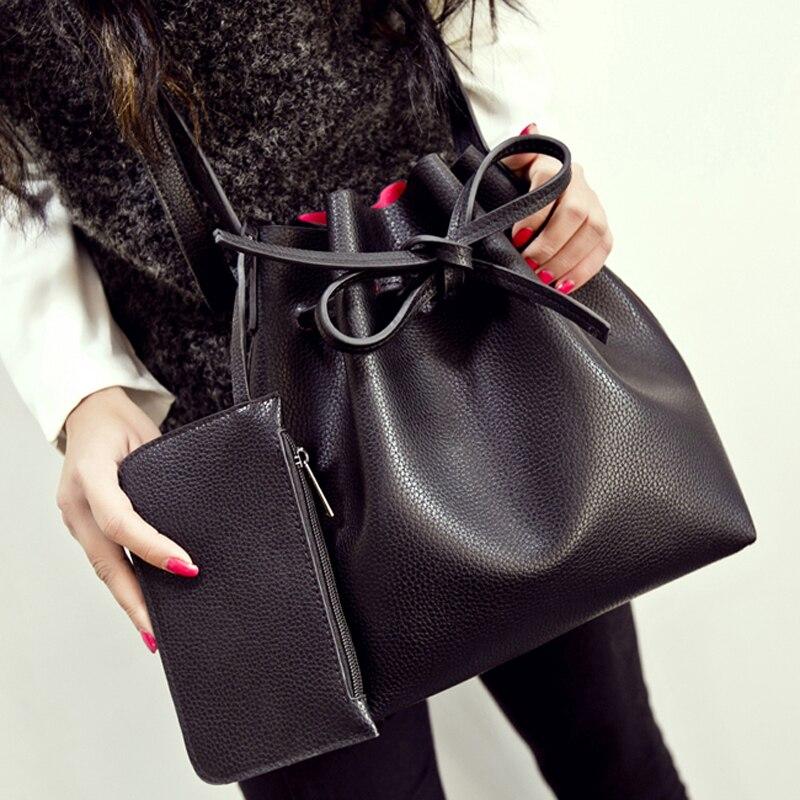 50pcs lot Fashion All match Bucket font b Bag b font Pu Leather One font b