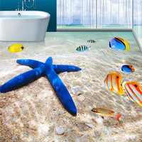 Modern Custom Floor Painting Mural HD Beach Scenery Starfish Non Slip Waterproof Thickened Self Adhesive PVC