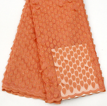 plain orange soft Hand cut french lace solid color embroidery African tulle fabric with lots of stones high quality 5yards
