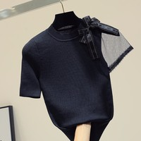 Black mesh patchwork bow knitted t shirt women 2019 korean tshirt short sleeve o neck graphic tee thin summer top funny t shirts