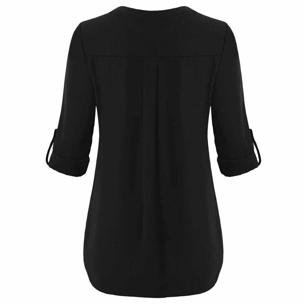Плюс размер 5XL женская шифоновая рубашка 2019 Блузы Roll Up с длинным рукавом Сексуальная V шеи случайные свободные топы рубашка на молнии F1