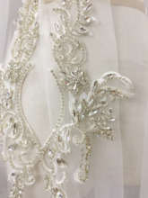 1 pair 2 pieces Exquisite Clear 3D Rhinestone Beaded Bridal Lace Applique for Wedding Sash Hair Flower Boutique