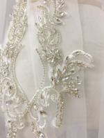 1 pair 2 pieces Exquisite Clear 3D Rhinestone Beaded Bridal Lace Applique for Wedding Sash Bridal Hair Flower Boutique