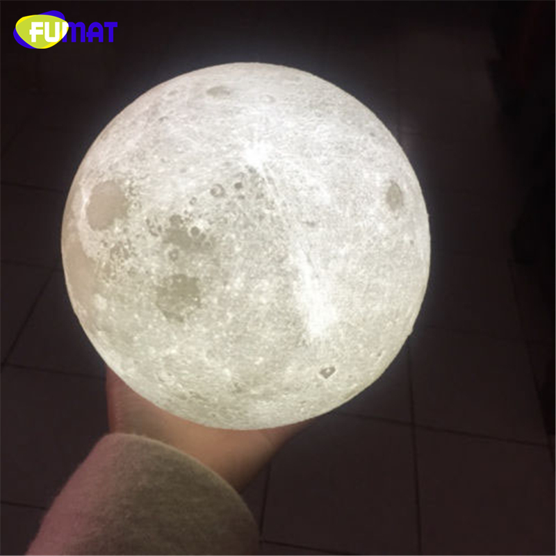 FUMAT 3D Magical Moon Night Light Smart Romantic Moonlight Remote Control USB Charge Dimmable Desk Lamp Bedside Sleep Aid Lights