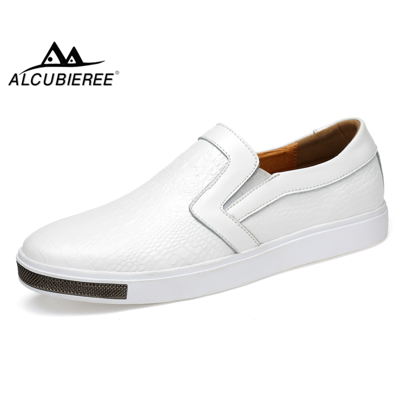 ALCUBIEREE Mens Fashion Crocodile Pattern Shoes Men Casual Slip-on Driving Shoes Male Genuine Leather Moccasins Size 38-44 mycolen mens loafers genuine leather italian luxury crocodile pattern autumn shoes men slip on casual business shoes for male