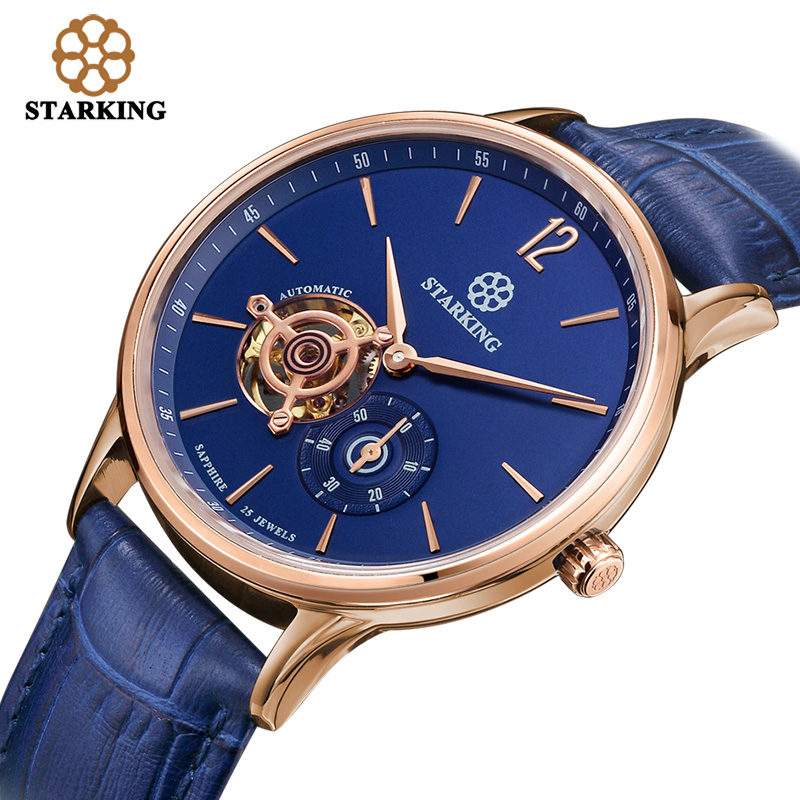 STARKING Swiss Men Mechanical Wristwatches Skeleton Tourbillon Analog Automatic Geneva Leather Strap Famous Brand Watch AM0213