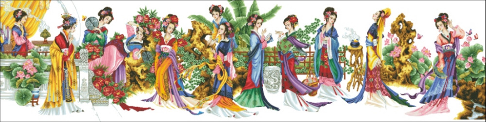 Gold Collection Counted Cross Stitch Kit Twelve Orient Beauties Women Ladies Beauty 12 Girls dome 91001
