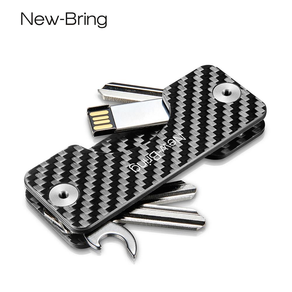 NewBring Smart Key Holder Keychain Car Key Wallets Ring Collector Housekeeper Carbon Fiber G2 DIY EDC Pocket Key Organizer Smart