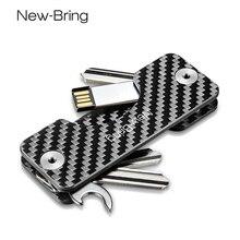 NewBring akıllı anahtar tutucu anahtarlık araba anahtarı cüzdan halkası toplayıcı kahya karbon Fiber G2 DIY EDC cep anahtar organizatör akıllı