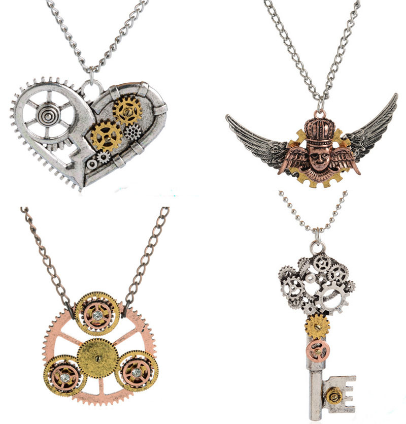Vintage Wire Chain Jewelry Making Brass Chain Custom: Wholesale Vintage Steampunk Charms Gear/key/heart/circle