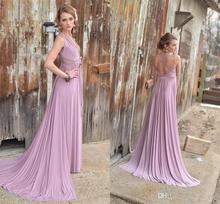 Light Purple Bridesmaid Dresses Back Cross Strips V Neck A Line Sexy Bridesmaid Gown Pleats Wedding