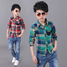 Fashion long sleeve plaid red and green kids blouse 2016 designer button dress shirts boys teenager clothing