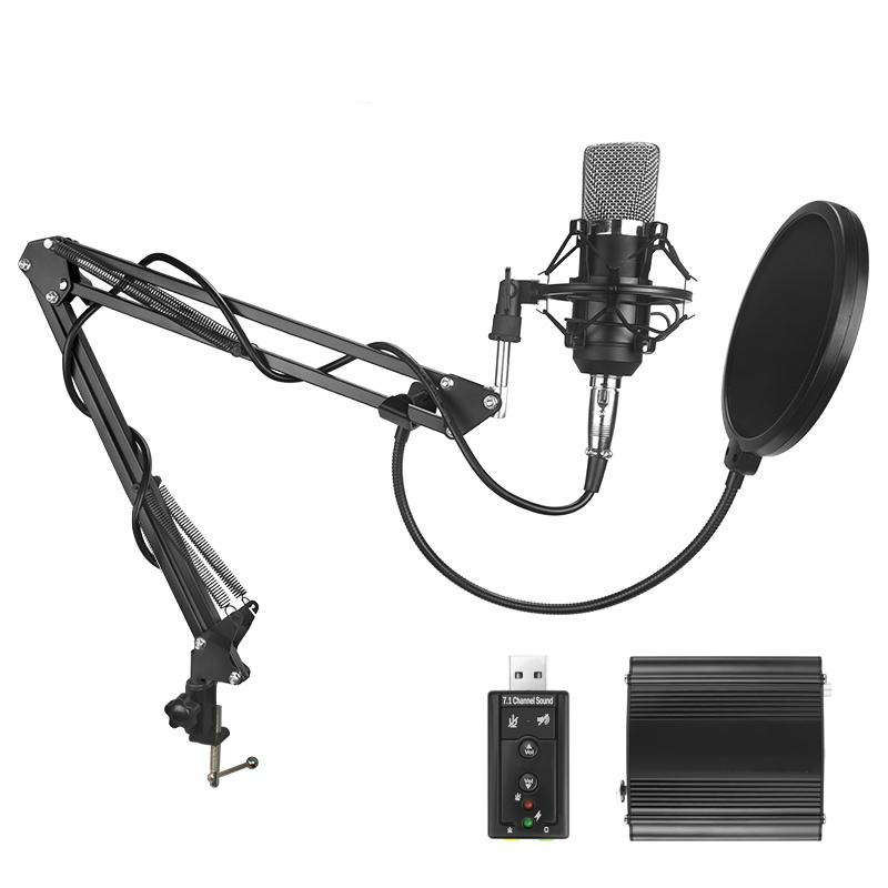 Ituf New Professional Condenser Microphone for computer BM 700 Audio Studio Vocal Recording Mic KTV Karaoke + Microphone stand best quality yarmee multi functional condenser studio recording microphone xlr mic yr01