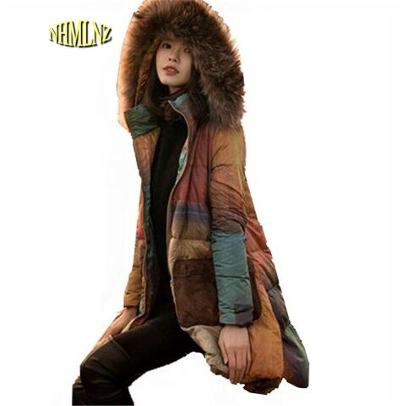 Grande porte Soltos Mulheres Casaco de Inverno 2017 New Casual Longo-mangas compridas Com Capuz Quente Médio-comprimento Mulheres Jaqueta edição Han OK187