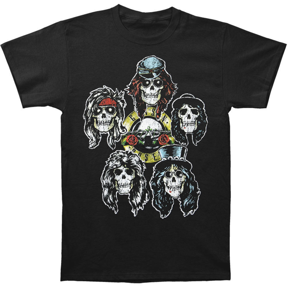 Guns N Roses Mens Heads Vintage Vintage T-shirt Black